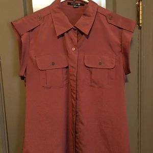 Rose colored sleeveless button down blouse